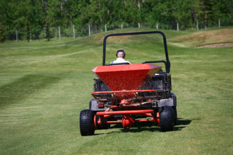 Fertilizing a Golf Course or Turf